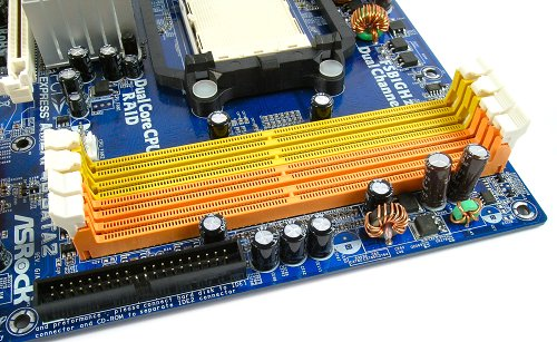 For a budget board, the AM2NF4G-SATA2 has four DIMM slots supporting speeds up to DDR2-800 and memory configurations up to 8GB.