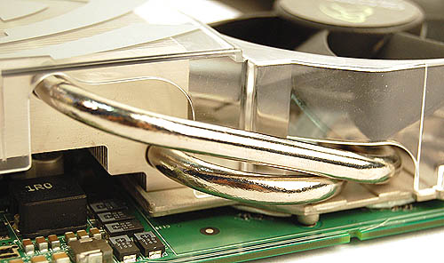 Heat pipes are now a common fixture in many heatsinks and with the limited surface area of the heatsink with the actual GPU, it is not surprising to find them in use here to redirect heat for optimal thermal dissipation.