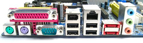 Rear I/O panel shows that the board has support for USB, FireWire and eSATA connectivity. There is also an RJ45 port, and three analog audio jacks.