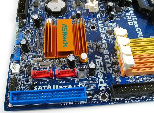 The board doesn't feature any additional storage features, but the nForce 410 MCP will still provide two SATA 3.0Gbps controllers with RAID 0 and 1 capabilities, plus two Ultra ATA-133 ports.