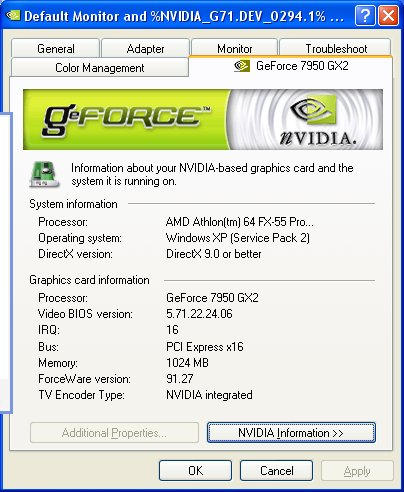 However delving further in, the GeForce 7950 GX2 was correctly recognized here.