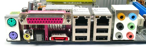 Rear panel shows a full range of connectivity including coaxial and optical S/PDIF and one eSATA port.