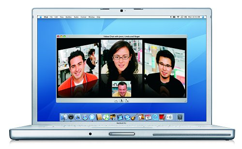 The Macbook Pro in some videoconferencing action using the iChat AV.