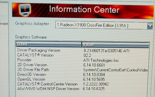 ATI Catalyst driver version seems to be in between official 6.2 and 6.3 releases.