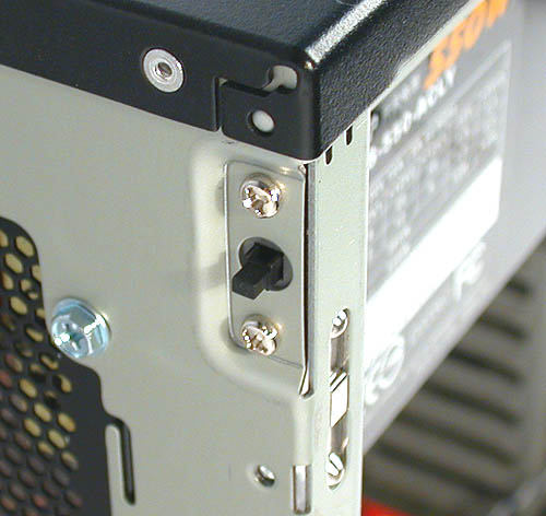 An alarm will sound if the casing side panel is not closed properly. This switch turns it off.