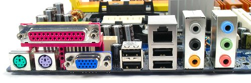 Sparse rear I/O panel features legacy PS/2, Serial and Parallel ports with four USB 2.0, an RJ45 and full 8-channel analog audio support. The onboard audio supports S/PDIF, but users will have to get their own brackets for that functionality.