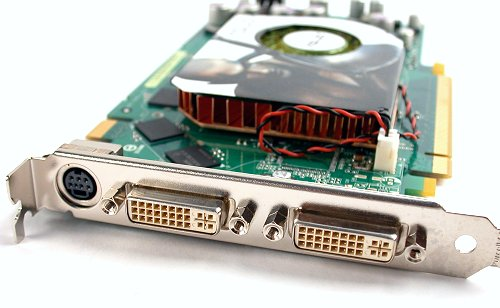 As with all new generation graphics cards, and most specifically high-end models, you'll find two DVI-I ports in addition to the usual mini-DIN connector for HDTV output. Take note that both DVI outputs are Dual Link DVI capable.