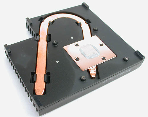 An internal copper heat pipe embedded within the heatsink distributes the heat from the GPU.