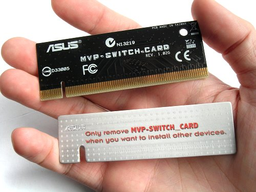 By default, the board comes installed with the white 'switch card', which is nothing more than a cardboard filler. Users need to manually install the real terminator card in order to achieve full PCIe x16 in a single GPU setup.