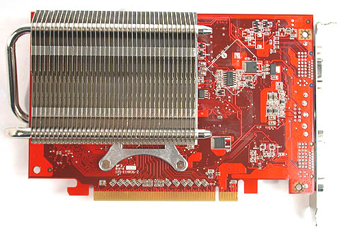 The substantial radiator is found at the back of the card, made up of aluminum fins bisected by the heat pipes.