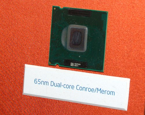 A sample of the Conroe microprocessor. A shame Intel scratched off the chip label and CPU Spec details though.