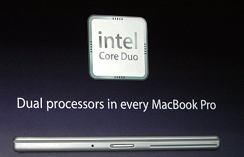 The new MacBook Pro notebooks featuring Intel Core Duo processors.