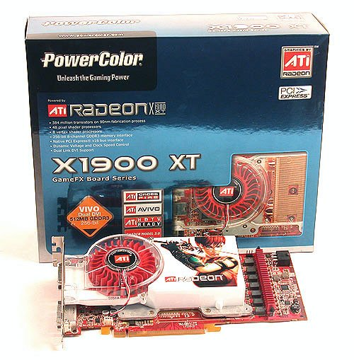 There she is� the PowerColor Radeon X1900 XT 512MB graphics card. The box packaging seems to have taken a slight departure from the usual artwork of previous PowerColor packages. Not that we yearn for it, but that's just an observation.