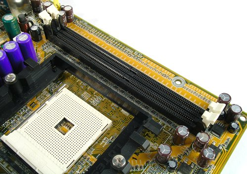 Only two DIMM slots allowing a maximum of 2GB of memory. Socket 754 also means single channel DDR mode only.
