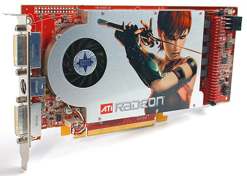 All the Radeon X1800 GTOs that we have seen are reference models, which means you get a giant cooler on a rather long PCB. There's also a Rage Theater ASIC hidden below the cooler. Can you tell that this X1800 GTO is from MSI?