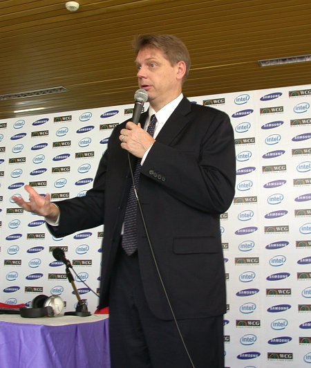 John Antone, Intel's Vice President of the Sales and Marketing Group in Asia Pacific gives his keynote speech.