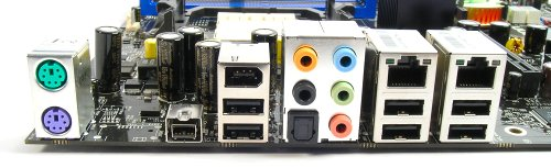 The C51XEM2AA doesn't feature any serial or parallel ports on its I/O panel (there is a COM header though). Instead there are six USB ports. Notice the empty spacing next to the PS/2 ports is actually reserved for eSATA, though it is not implemented here.