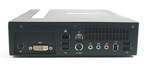 There are no legacy ports, so no PS/2 ports. Instead, you'll get 4 USB2.0 ports along with S/PDIF out, DVI and S-Video outputs, LAN and FireWire ports and the standard audio jacks.
