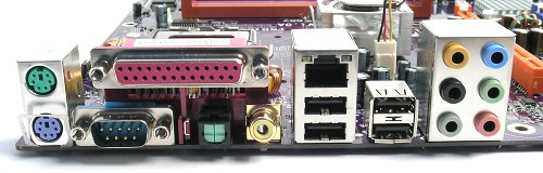 Standard array of PS/2 mouse and keyboard, LPT and serial ports in addition to an RJ45, four USB 2.0 and 8-channel analog audio. The C19-A SLI also comes with both coaxial and optical S/PDIF outputs.