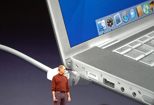 The MagSafe Power Connector being demonstrated by Steve Jobs as a solution to safeguard your notebook from careless users tripping on the power cable.