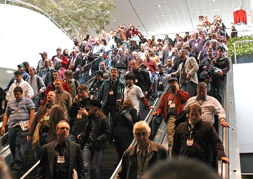 The moment the show floor opened, everyone rushed down like water coming over a waterfall.