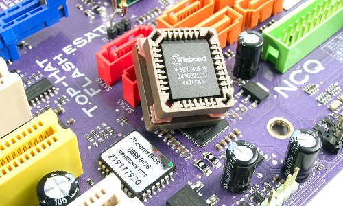 Save your BIOS on the go with ECS Top-Hat Flash module.