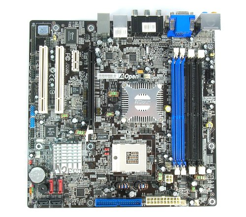 The AOpen i915GMm-HFS motherboard.