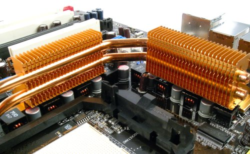 The two large radiators for the heat-pipes now double up as coolers for the motherboard MOSFETs and capacitors.