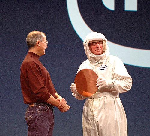 Surprise, surprise! The two industry giants, Steve Jobs (Apple's CEO) and Paul Otellini (Intel's CEO), meet up to make an unprecedented announcement:- A new generation of Macs using Intel processors.