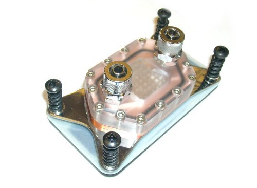 Early sample of the SilverArray waterblock has a pure copper plate with embedded silver rods that have direct contact with water flow. Comes in standard 1/2-inch or 3/8-inch barbs.