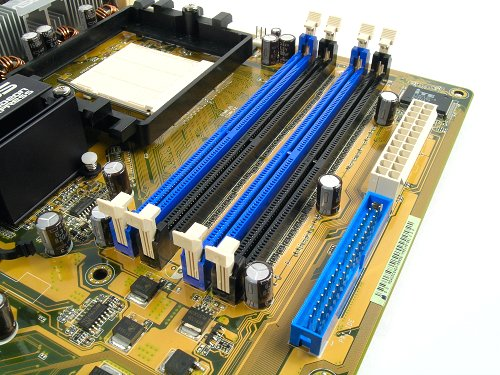Roomy component layout means good ventilation possibilities. Notice that the DIMM channels are placed in alternate fashion as well.