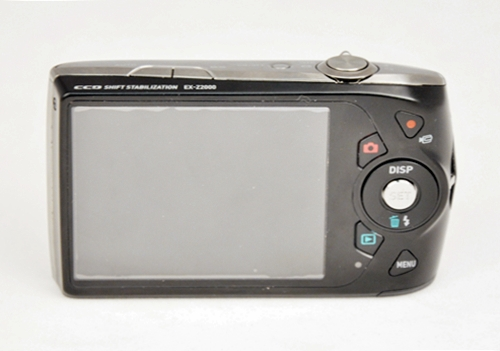 Here's a view of the back, with buttons and the 3-inch LCD screen taking up most of the real estate.