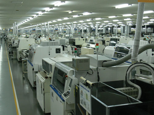 The circuit boards are manufactured here in these machines.
