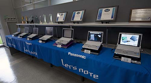 "The business rugged Panasonic Toughbooks lined up and ready for our inspection! Note, if you're wondering why they are labelled ""Let's Note"" and not Toughbook is because that's how Panasonic's Toughbooks are branded in Japan. Globally, they are known by the familiar name of Toughbooks."