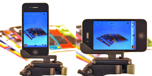 Once on the tripod, to change orientation, you adjust the iPhone instead of the Glif.