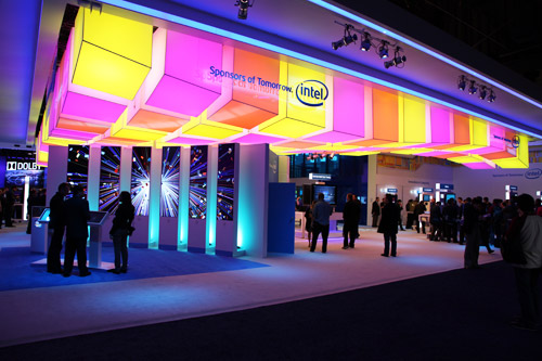 Intel's booth - colorful as ever.