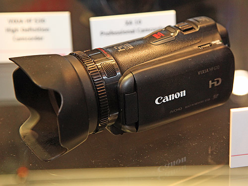 The new Canon HF G10 camcorder features a HD CMOS Pro sensor, a 10X lens (30.4 to 304mm, 35mm-equivalent), and 32 GB internal flash memory, with tools and functions built-in, like a 24p film recording mode, manual color temperature, aperture, and shutter adjustments, color bars and test patterns, and a remote control terminal.