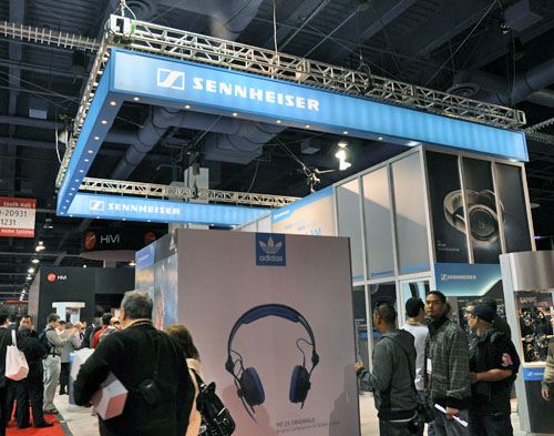 Sennheiser's booth was pretty packed when we reached it, due to some American Football star being present for an interview. Shame they don't like real football as much.