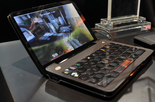 The highlight of Razer's show is the Razer Switchblade, a mini notebook powered by the Intel Atom processor that let's you play games with a keyboard that switches to a different layout depending on the game you play.