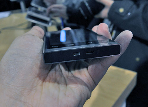It's running on Android 2.2, has a HDMI out (at the bottom) and uses a Qualcomm MSM 825 1GHz processor and 512MB RAM.