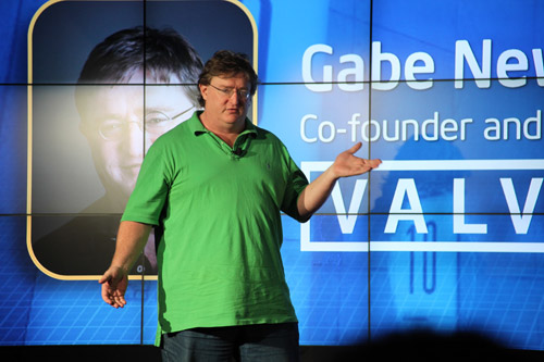 Gabe Newell, Co-Founder and Managing Director of Valve, was at the Intel Sandy Bridge launch to give the audience a sneak peek of Portal 2, which is scheduled to release in April 2011.
