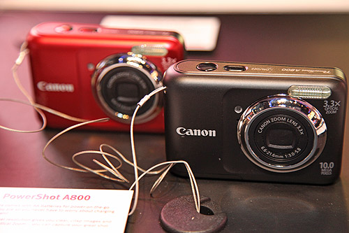 "The new Canon PowerShot A800 with 10 Megapixel resolution, 3.3x optical zoom, a 2.5"" LCD screen, uses AA alkaline batteries and ISO up to 1600 (in P mode)."