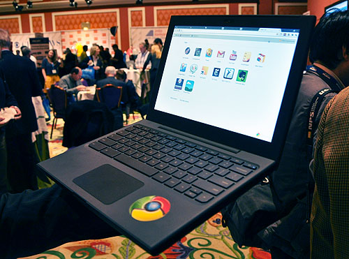 Wondering around the ballroom led us to Intel's booth and this sweet looking Chrome OS notebook.