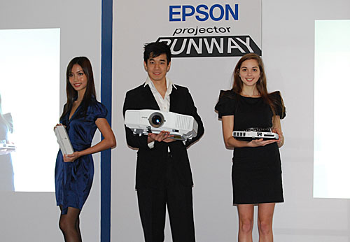 The three 'models': the Epson ELPDC06/ELPDC11 (a portable document camera), the Epson EB-G5000 series of high-powered multimedia projectors, and the super-slim Epson EB-1700 series.