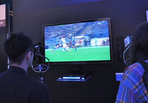 The 50-inch version of Panasonic's Plasma GT30 series showing just how much football fans will enjoy having 3D sports in their living room.