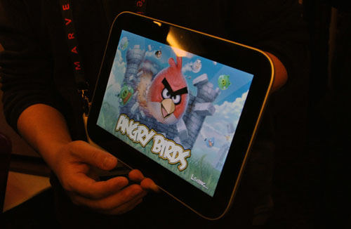Lenovo also showed off a demo unit of the LePad, which uses an OS that's based on Android Froyo (2.2) but not running Froyo. The UI seemed pretty smooth, and you could run Android apps like Angry Birds on it. Appearance wise it looks quite close to the Apple iPad, especially since it has a similar Home button that's located to where Apple's Home button would be if the LePad were an iPad.
