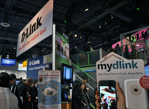 D-Link's booth - full of networking solutions.