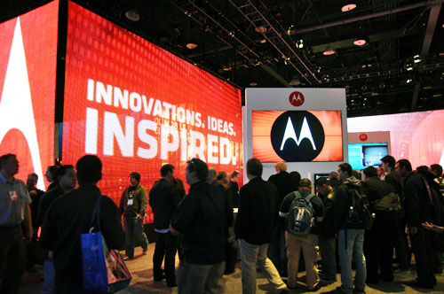 The Motorola booth is a pretty striking affair that you can see from miles away. Just don't go to the wrong Motorola booth that's only showing cordless phones.