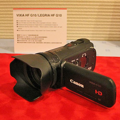 The LEGRIA HF G10 is the flagship model of the new LEGRIA lineup. It uses the new HD CMOS PRO sensor (2.37 megapixels), and a 30.4 mm wide-angle, F1.8 lens with 8-bladed iris. Also making its debut is Cinema Style that consists of three tools: Story Creator (tips on scenes for easier story-telling), Touch Decoration (for adding animation, stamps, frames and messages in real time), and Cinema-Look Filters (eight filter effects). Controls are aplenty too: it has manual aperture, shutter speed and gain controls, a manual focus ring, and a Custom Key and Dial.  It also comes with 32 GB of internal memory and dual SDXC-compatible slots. A wireless microphone (WM-V1) and a 5.1-channel surround microphone are also available as optional accessories.