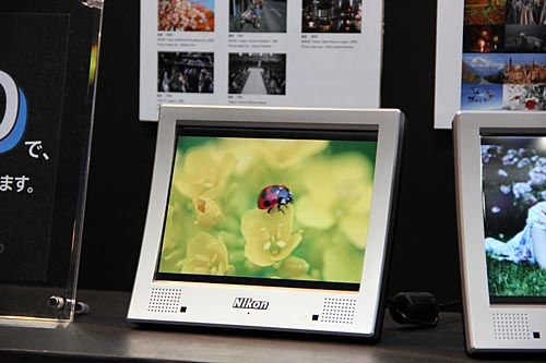This is the Nikon NF-300i 3D digital photo frame. Members of Nikon's 'My Picturetown' service can upload their 2D photos to convert them into 3D (for a fee). The NF-300i is based on Android 2.1, and uses a 7.2-inch, 800 x 600-pixel screen. It also supports WiFi 802.11b/g.